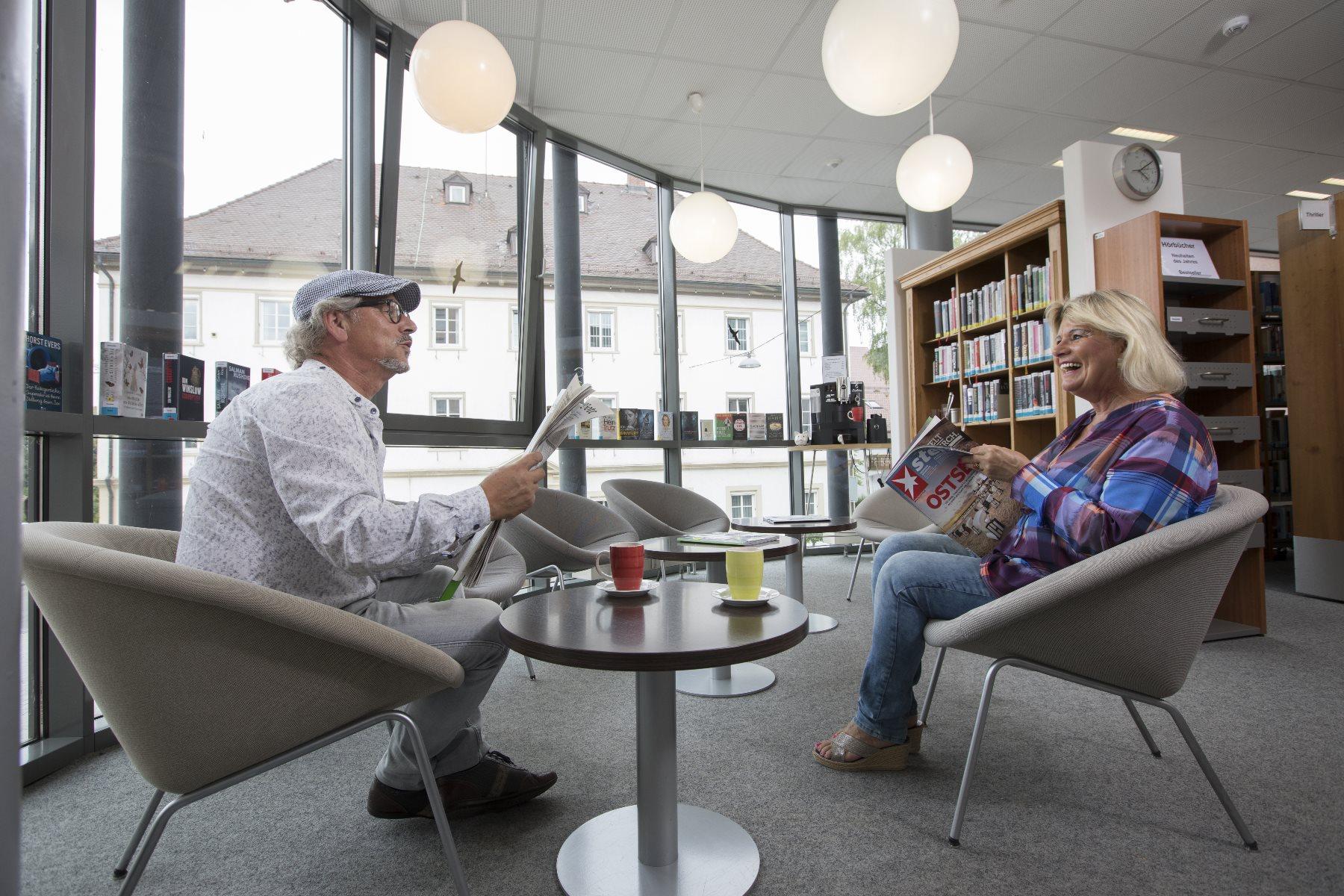 Sitzgelegenheit im Lesecafé