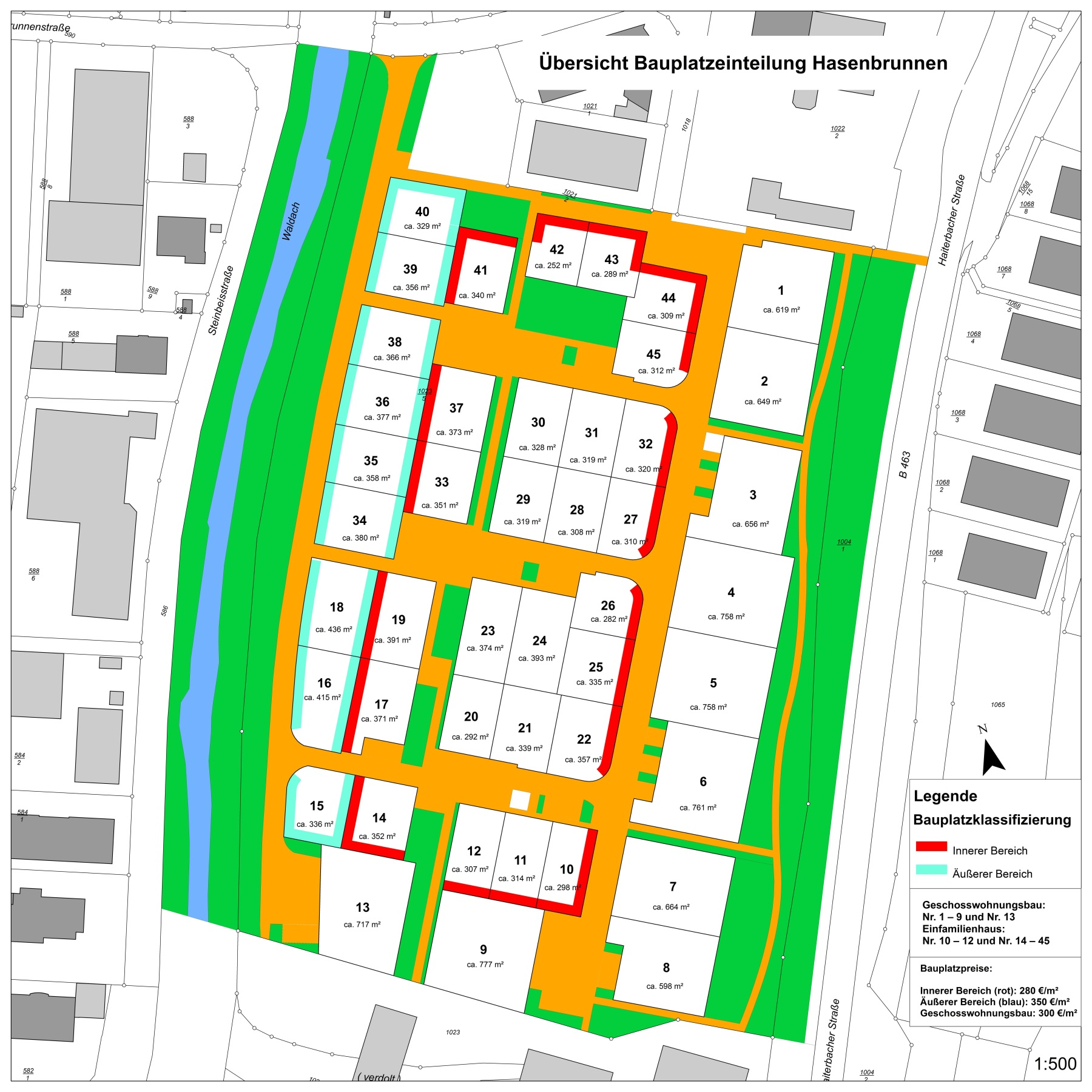 Bauplatzeinteilung Hasenbrunnen mit Nummerierung und Größe