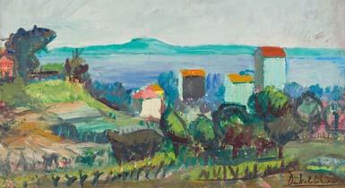 """Gemälde """"Die grüne Bucht"""" von Otto Dünkelsbühler 1959/60"""