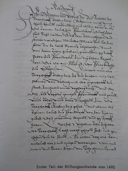 Pfrondorfer Stiftungsurkunde von 1492