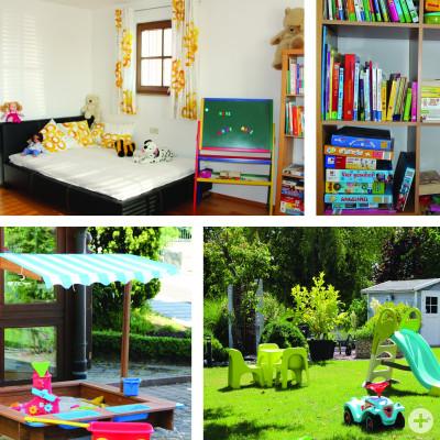 Kinderzimmer und Garten