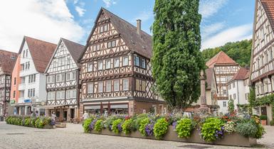 Marktstraße mit Fachwerkhäusern und Blumenswing