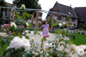 Rosengärtle Hochdorf, im Vordergrund sind Rosen und ein kleines Mädchen in einem hell lilanen Kleid dreht sich vor einem Spielplatz