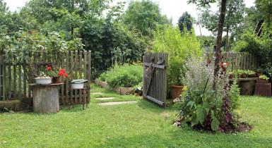 Offene Bauerngartentür