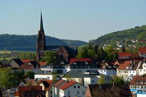 ganz hinten sind Kuppeln von Wald, und die e.v. Stadtkirche und im Vordergrund überall Häuser