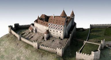Rekonstruierte Burgruine von 1644