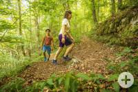 Wanderer, junge Frau und junger Mann, im Wald unterwegs