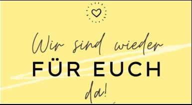 Banner gelbes Shoppping Date Banner mit schwarzer Schrift Wir sind wieder für Sie da!