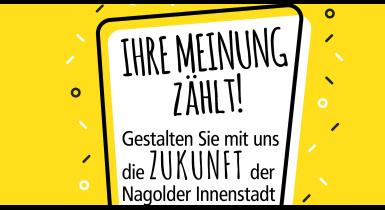 Gelbes Bild mit Schwarzer Schrift zur Befragung zum Besuch und Einkaufsverhalten