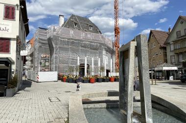 Baustelle Bahnhofstraße 2, Ansicht während der Sanierungsphase