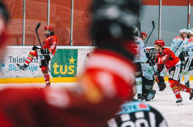 Eishockeyspieler beim Torjubel