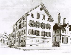 Gemälde in schwarz weiß vom ehemaligen Gasthaus Hirsch im Hintergrund und rechts davon sind Häuser