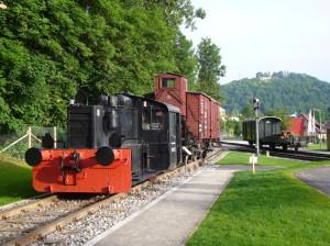 Altensteigerle Denkmal, schwarze Eisenbahn mit rotem Anhänger, links davon überall Bäume und rechts ein Weg und Wiese, im Hintergrund nochmal ein Anhänger und eine kleine Kuppe mit Bäumen