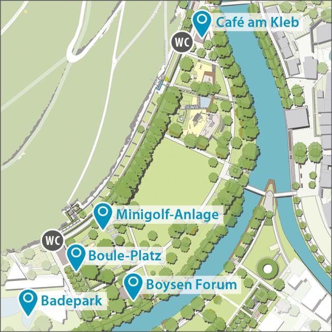 Spass und Sport - Lageplan Stadtpark Kleb 2019