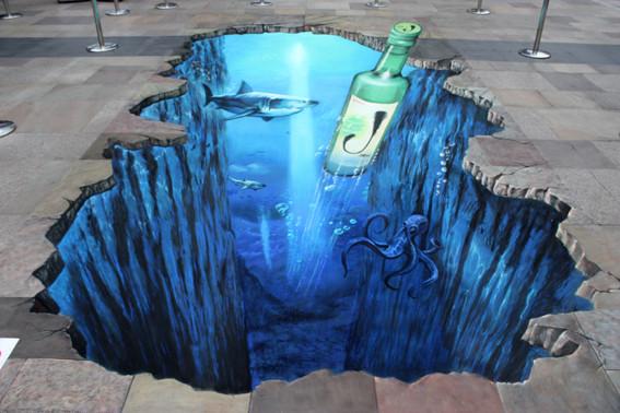 3D Straßenmalerei Tiefsee