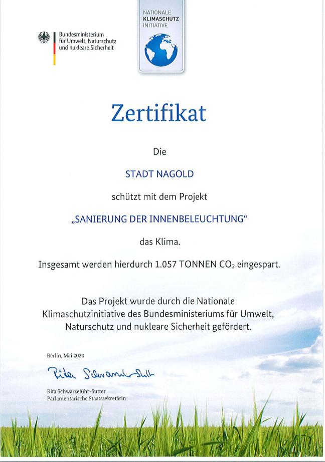 Zertifikat für die Sanierung der Innenbeleuchtung an der Lembergschule in Nagold