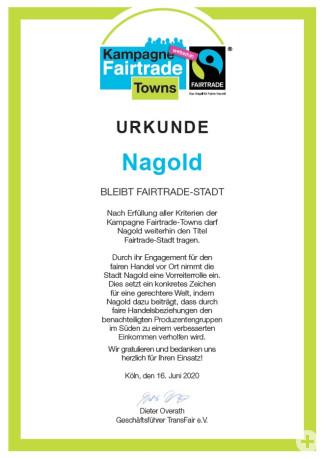 Urkunde Titelerneuerung Fairtrade Stadt Nagold 2020