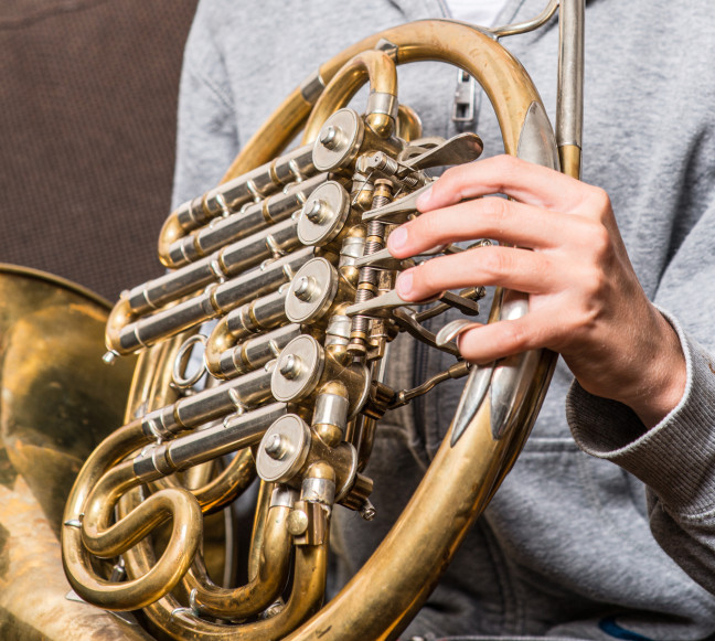 Detail of a hand on a french horn