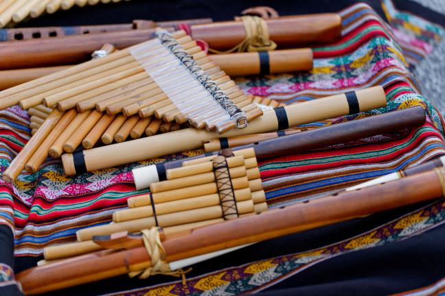 Various Bamboo Flute Peruvian Musical Instruments