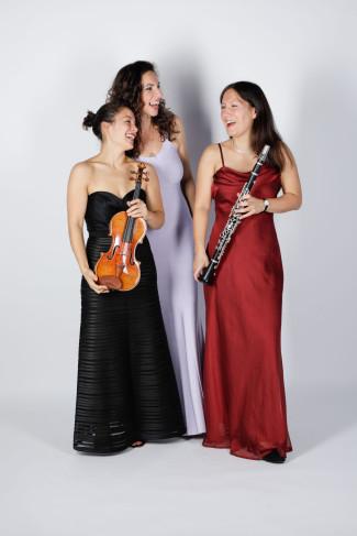 Gruppenbild des Trios Schmuck mit ihren Instrumenten